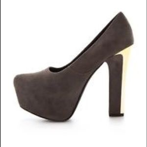NEW Theyskens Theory Evie Brown Gray Gold  heels